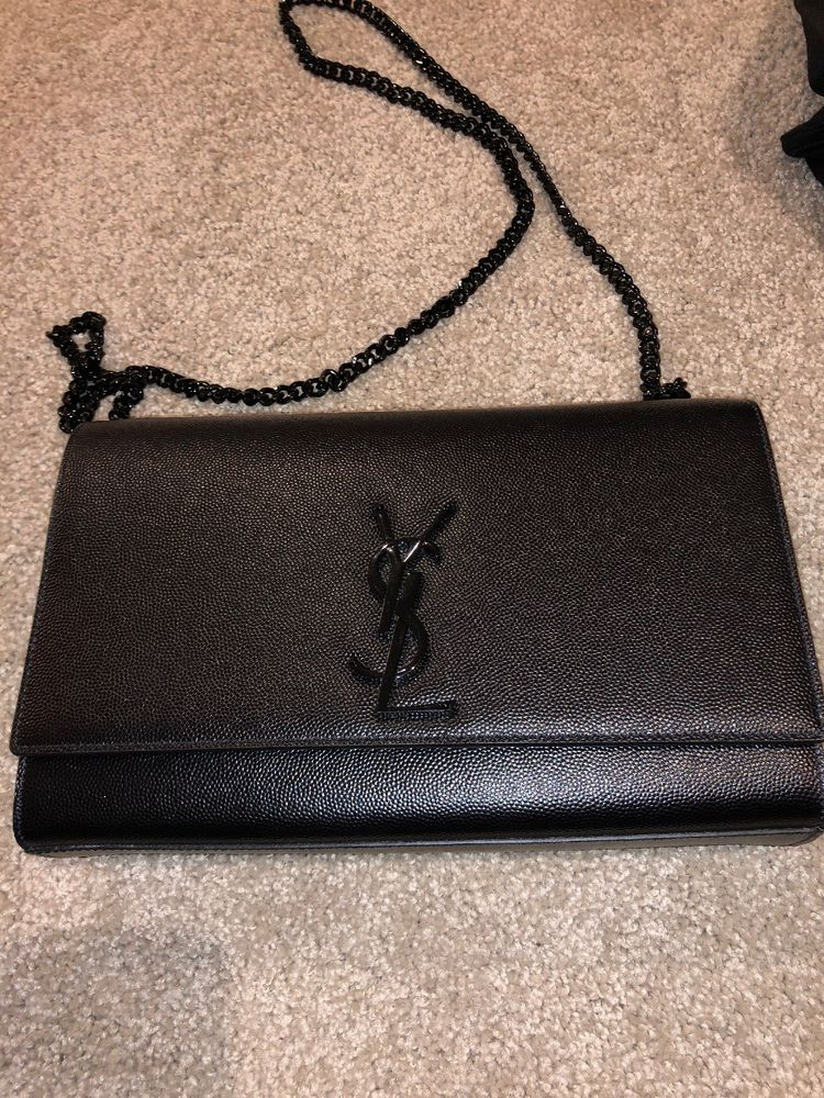 c38374bb8b Authentic YSL SAINT LAURENT MEDIUM KATE SO BLACK Caviar Leather Shoulder Bag