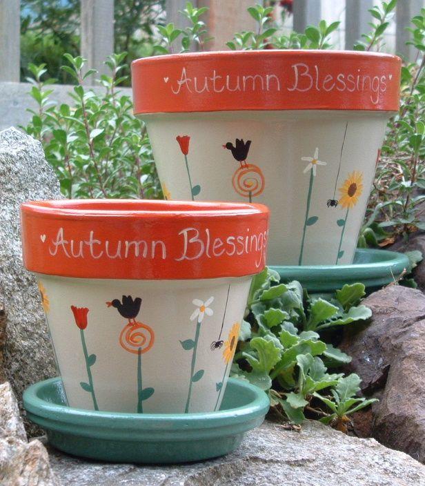 Autumn Ceramic Painting Designs Painted Flower Pot Ideas
