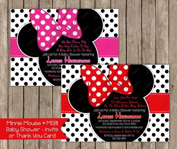 Pink Minnie Mouse Thank You Note Card Any Color Red
