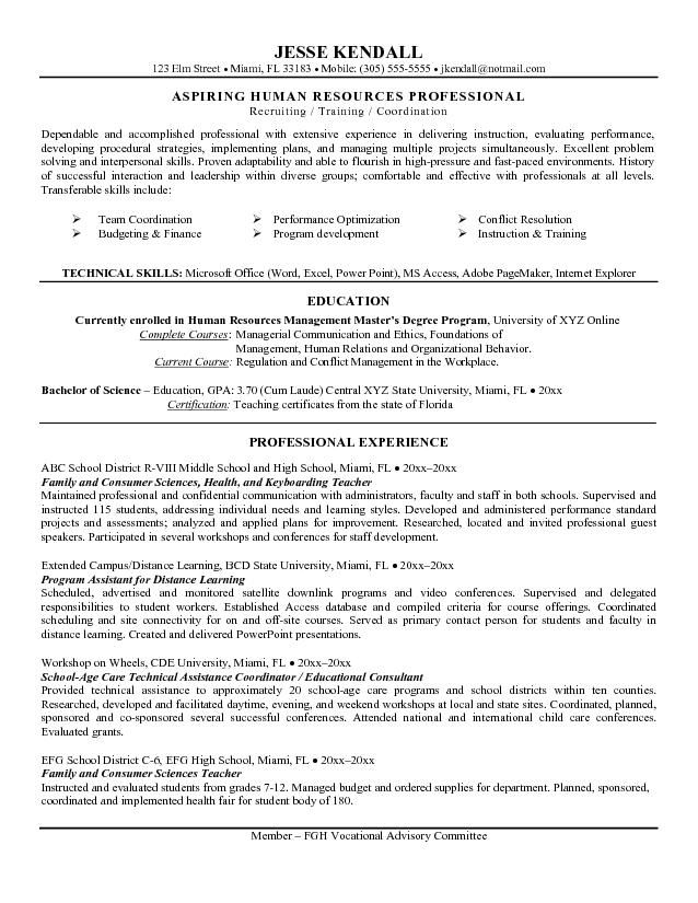 Example Career Change Teacher To HR Resume Free Sample