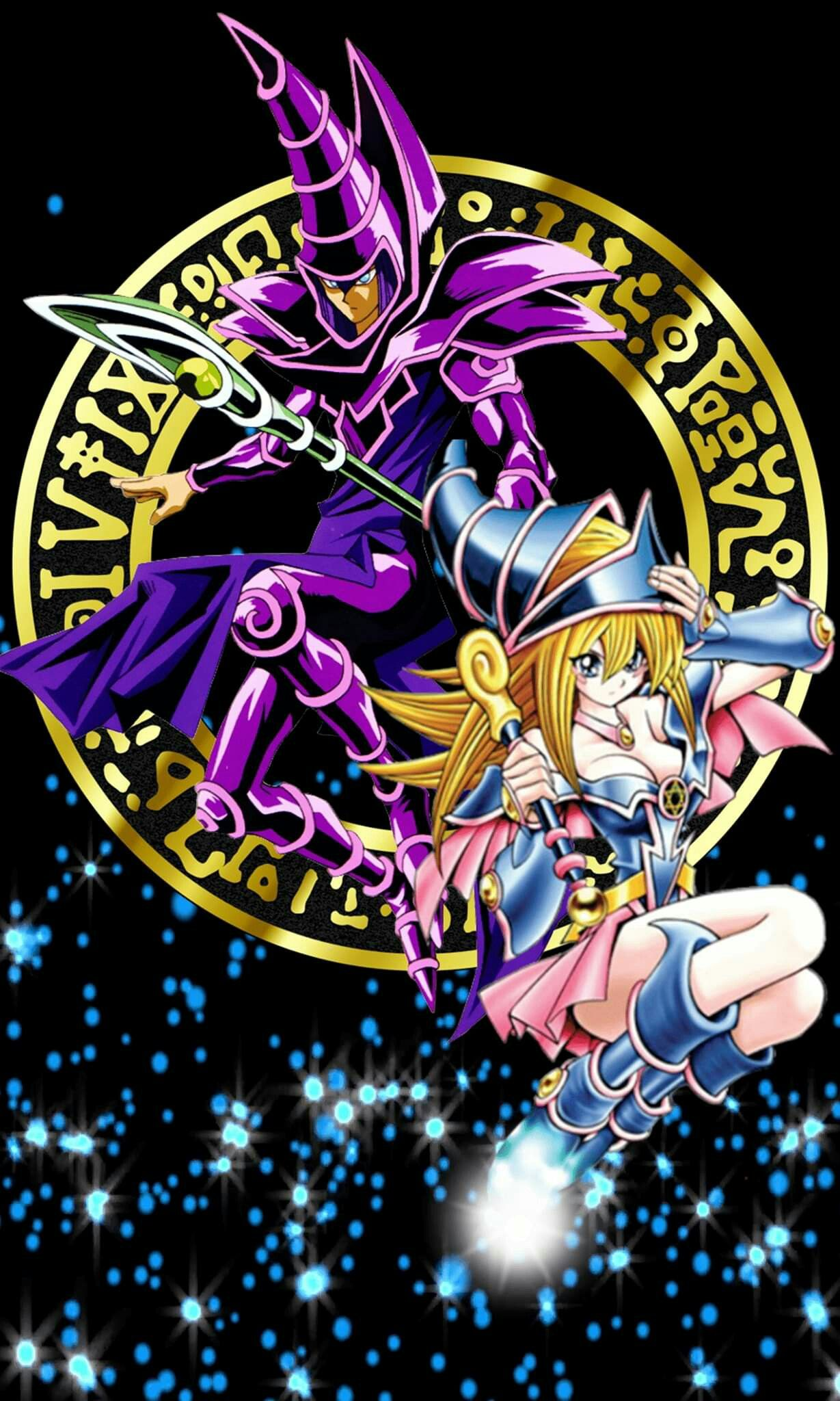 Dark Magician And Dark Magician Girl Magos anime, Fondo