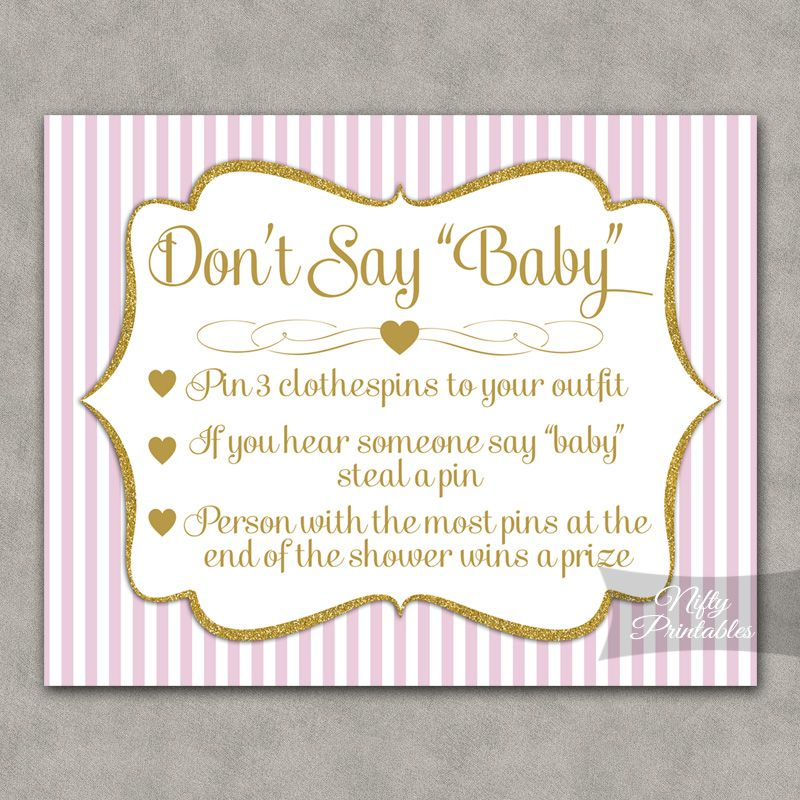 Printable Dont Say Baby Shower Game Pink Gold Fun Baby Shower