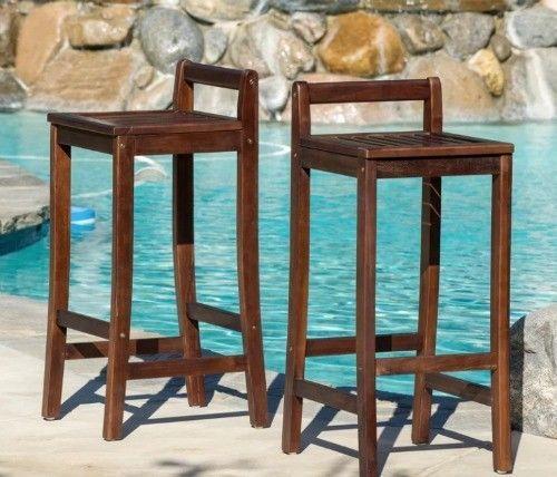 Set Of 2 Bar Stools Outdoor Pool Patio Deck 30 Acacia Wood Low Back Stool New Usaer Contemporary