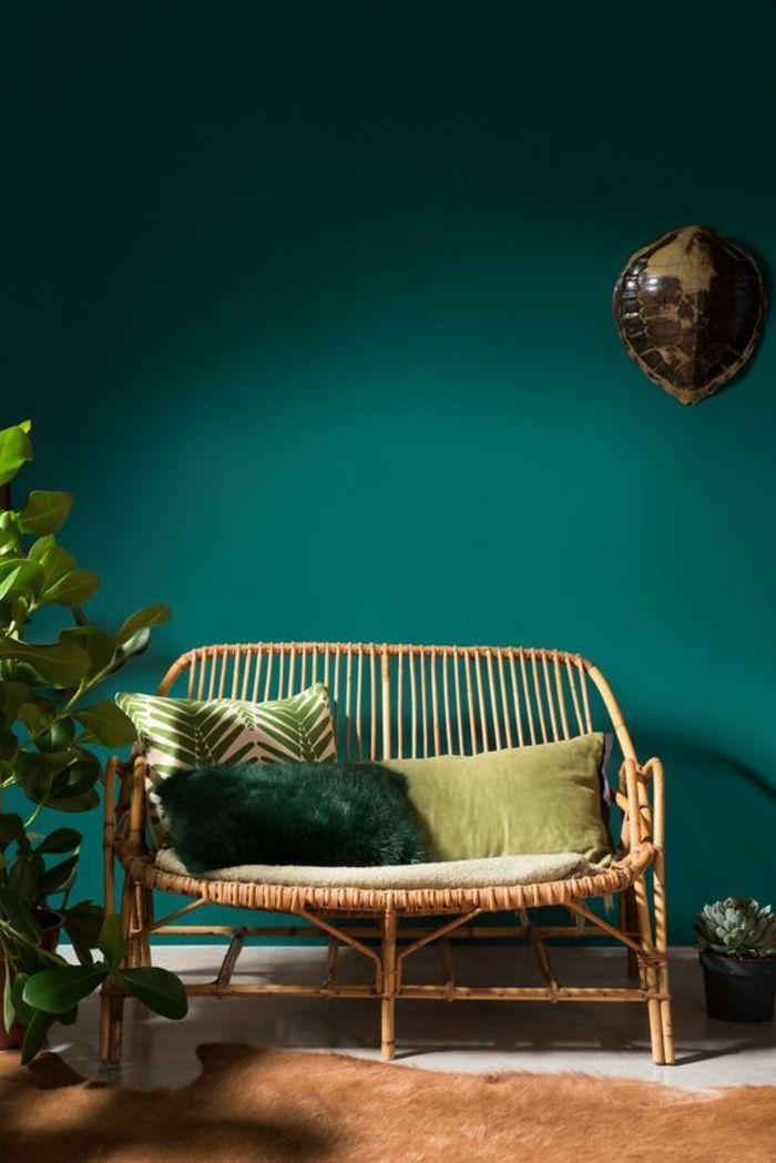 Tendencia Deco Color Verde Pato Pared Color Canape Ratan Cojin