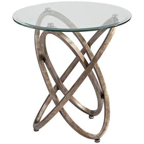 Escala Glass Top Champagne Gyroscopic Round End Table 1h782 Lamps Plus Table End Tables Metal End Tables
