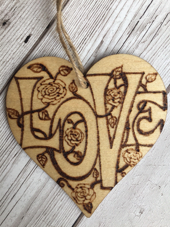 Wooden Hanging Heart 8cm Pyrography Wooden Heart Wood Burning Love Roses Handmade Home Decor D Wood Carving Designs Wood Burn Designs Wood Burning Art