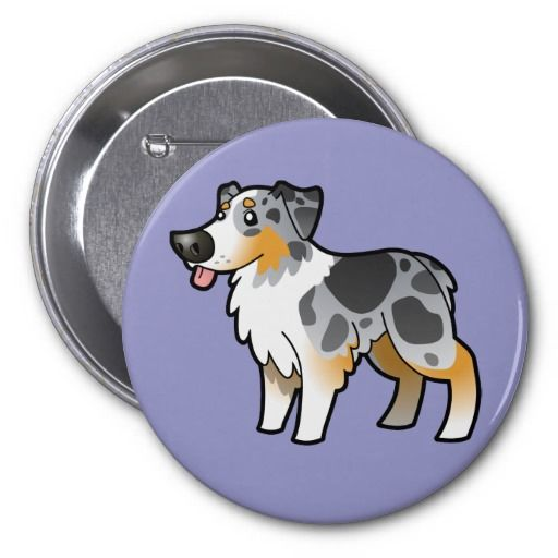 Cartoon Australian Shepherd (blue merle) Buttons - love the tongue! so Aussie {:-)