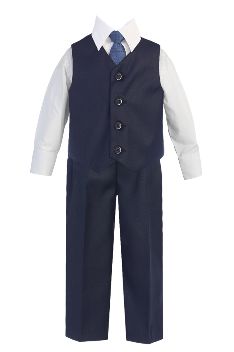 6e6575fc1 Boys Navy Blue 4-pc Vest   Trousers Dresswear Set 6m-14