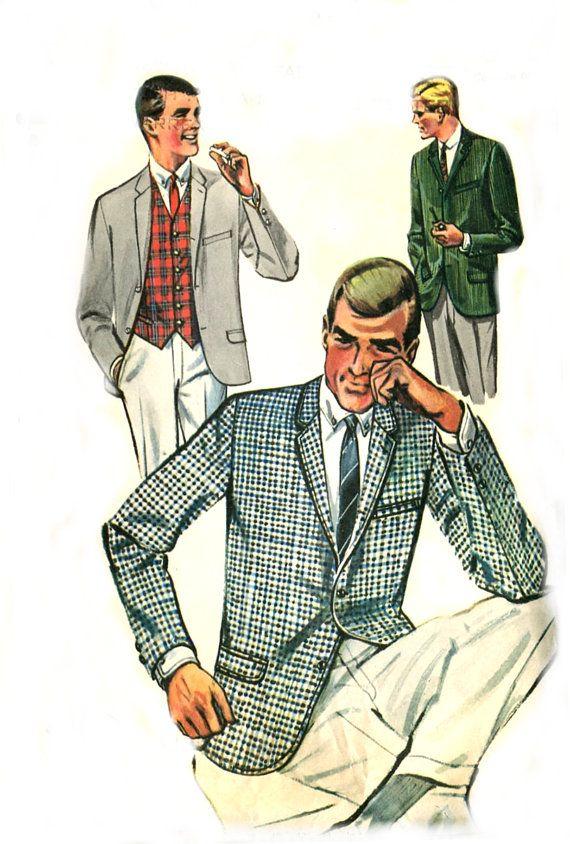 60s Mens Suit Jacket / Vest - Sports Coat - Butterick 2125 - Vintage ...