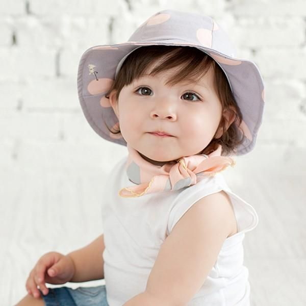a20da04d812 Cute Toddler Sun Cap Polka Dot Summer Outdoor Baby Girl Sun Beach Bucket Hat
