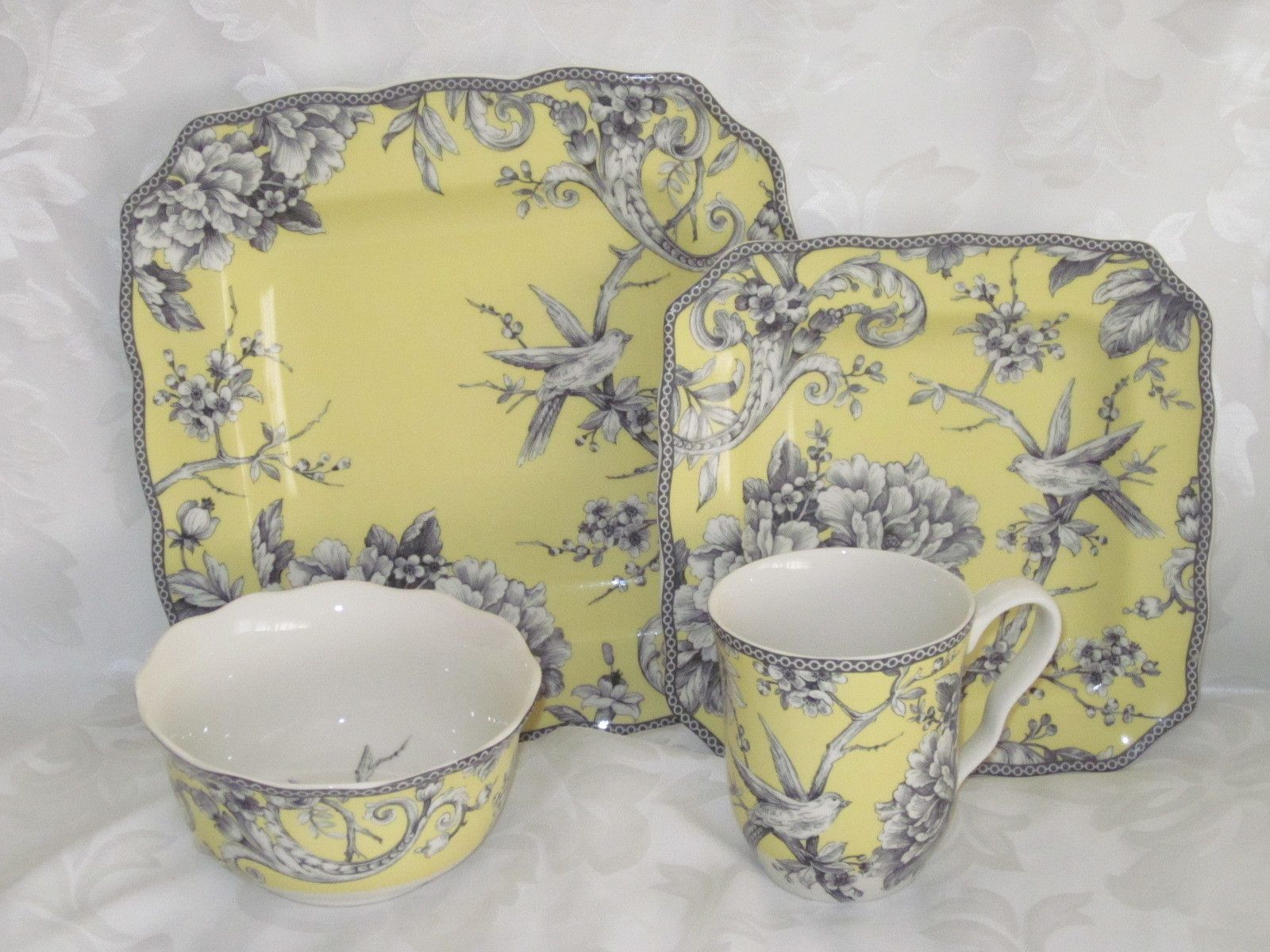 Have to have these Fifth Dinnerware Sets & 222 fifth adelaide yellow french toile bird 16 pc dinnerware set ...