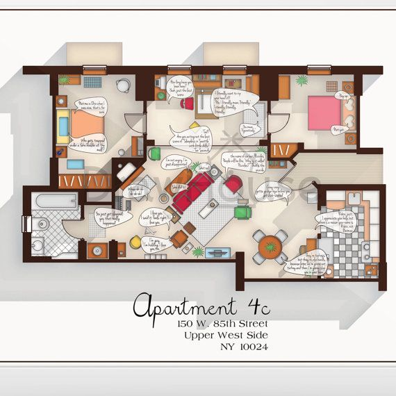 How I Met Your Mother Apartment Famous Tv Show Floor By Drawhouse Architecture Memes Ted