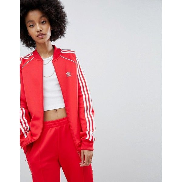 fab429df0455d adidas Originals adicolor Three Stripe Track Jacket In Red ( 72) ❤ liked on  Polyvore featuring activewear