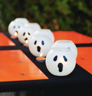 Instructions on how to make these cute ghost tea light candle globes