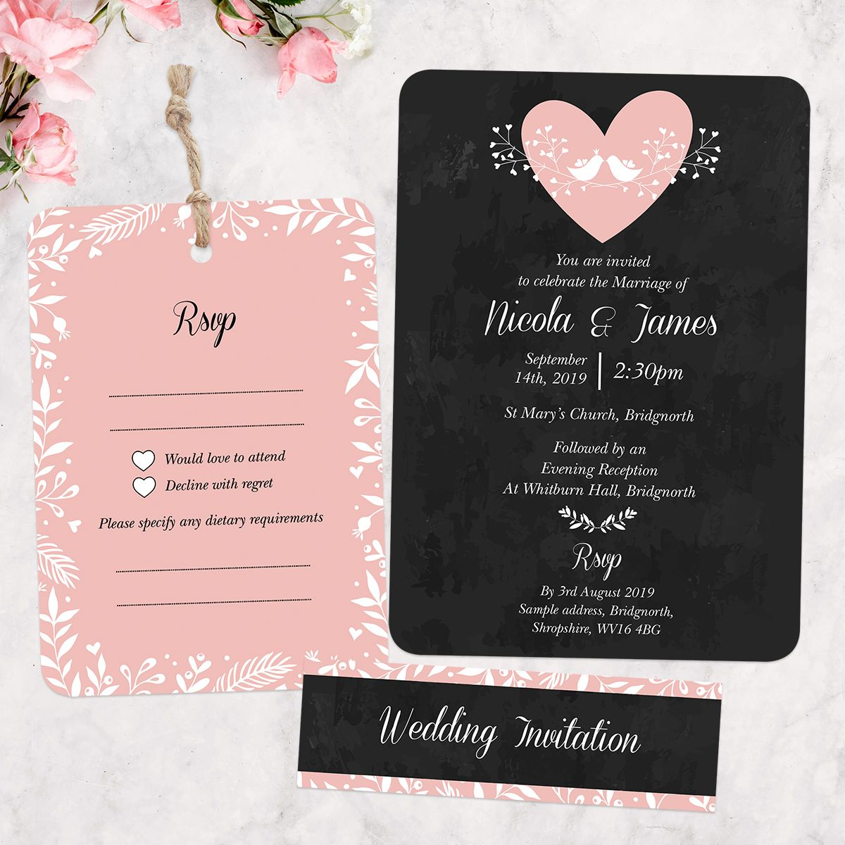sample wording for rsvp wedding invitations%0A Chalkboard Botanical Love Birds  Boutique Wedding Invitation  u     RSVP by  Tree of Hearts         each  Personalise the wording and choose your own  colour for