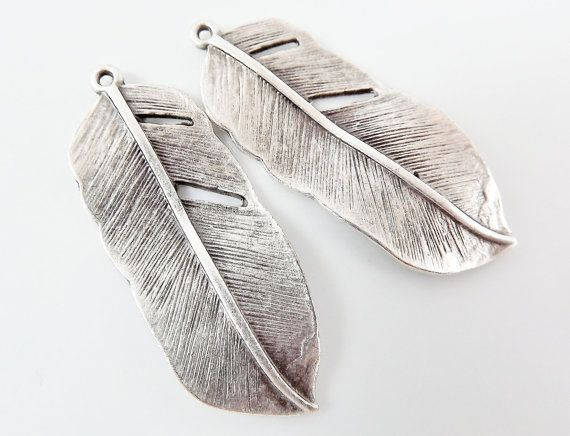 2 Feather Charms  Matte Silver Plated by LylaSupplies on Etsy, $4.60