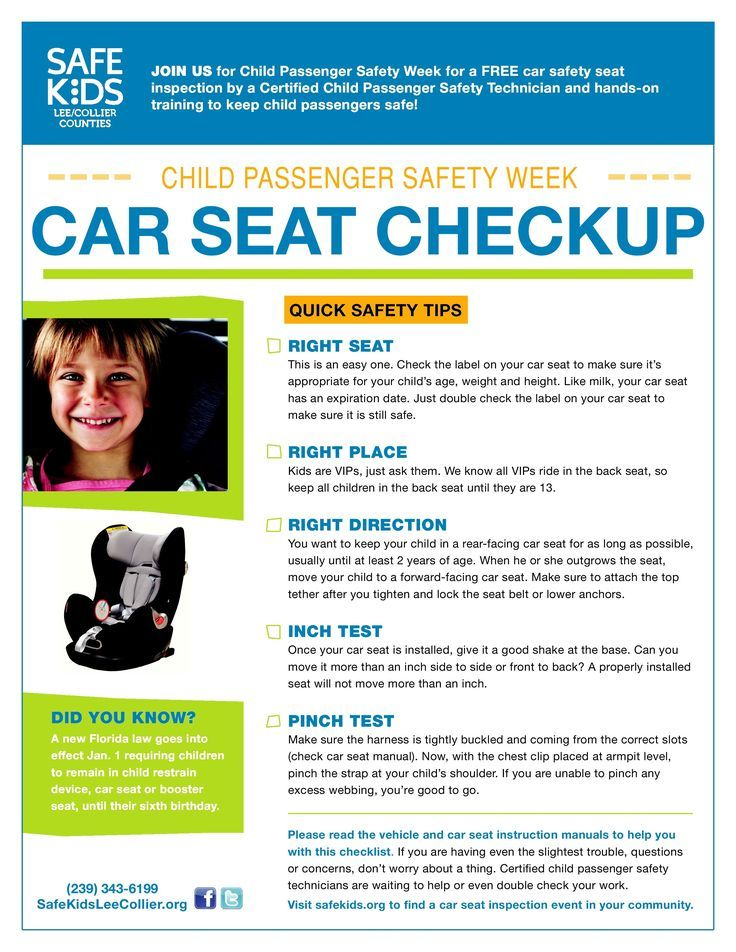 Car Seat Safety Checklist Safety checklist, Car seats