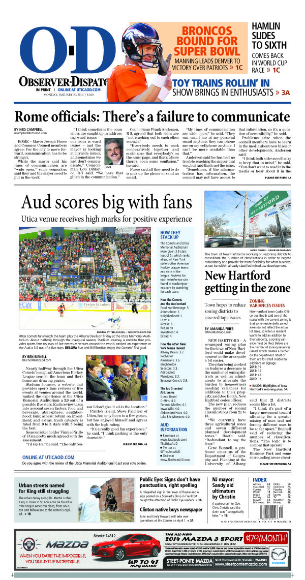 The front page for Monday, Jan. 20, 2014: Aud scores big with fans