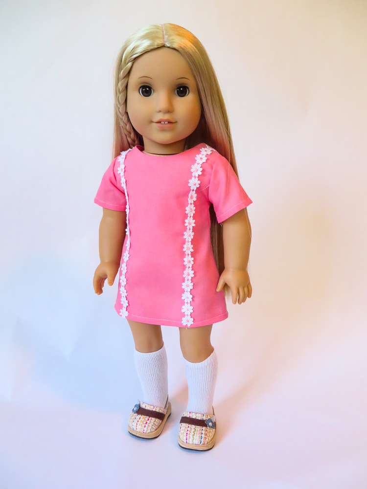 Sunshine Dress – An Easy Sewing Pattern to Make an 18 inch Doll Dress #dolldresspatterns