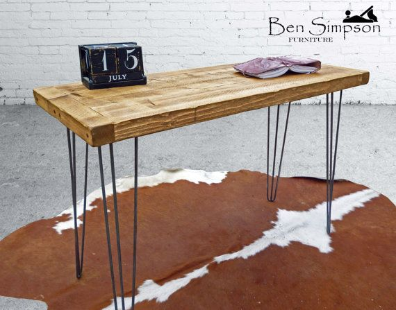 Hairpin Desk Dining Table Handcrafted Using Rustic Solid Etsy Solid Wood Sideboard Solid Wood Desk Rustic Desk