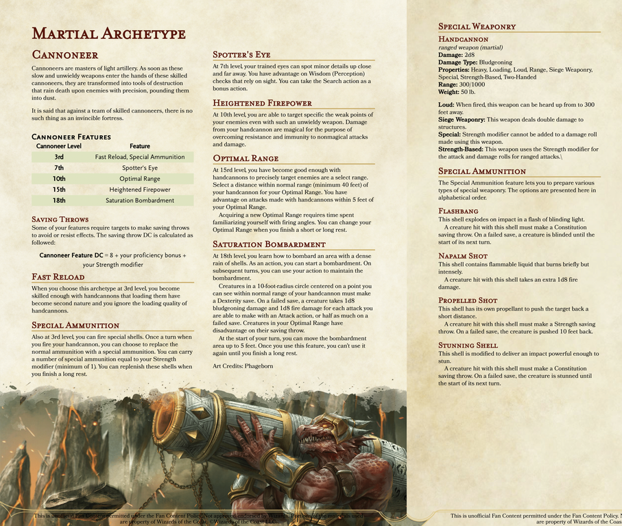 Martial Archetype Cannoneer V1 0 Pound Your Enemies To Dust With Artillery Fire Dndhomebrew Archetypes Dungeons And Dragons Homebrew Dnd Classes
