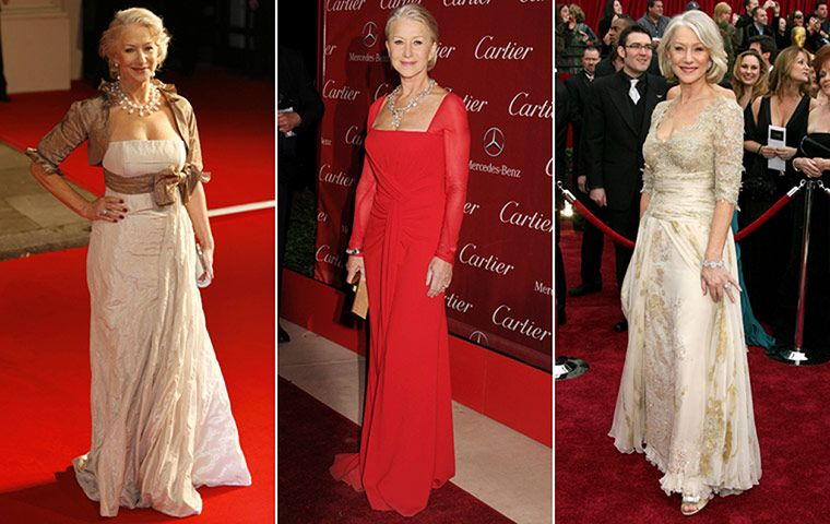 Credit: Getty Images/Rex Features Helen Mirren, 67Platinum-blond hair and a lipsticked smile is a formula movie stars ...
