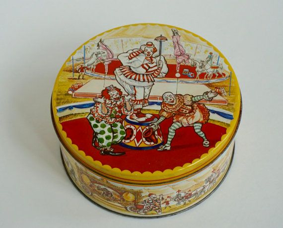 Vintage Tin With Circus Scene Clowns Elephants by ThreeGoodWishes