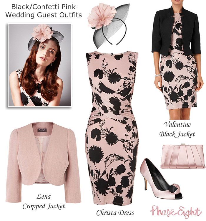 Phase Eight Pink And Black Wedding Guest Outfits With Matching Satin Shoes Clutch Fascinator