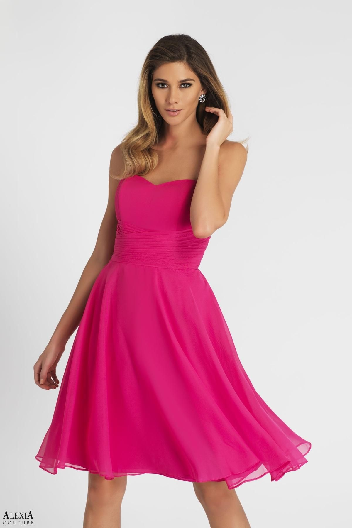Magenta chiffon cocktail length dress with pleated waistband. In ...