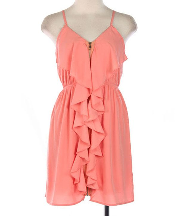 Look at this Hello Miss Peach Sleeveless Ruffle Zip-Up Dress on #zulily today!