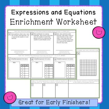 Expression And Equation Enrichment Worksheet 72 And 73
