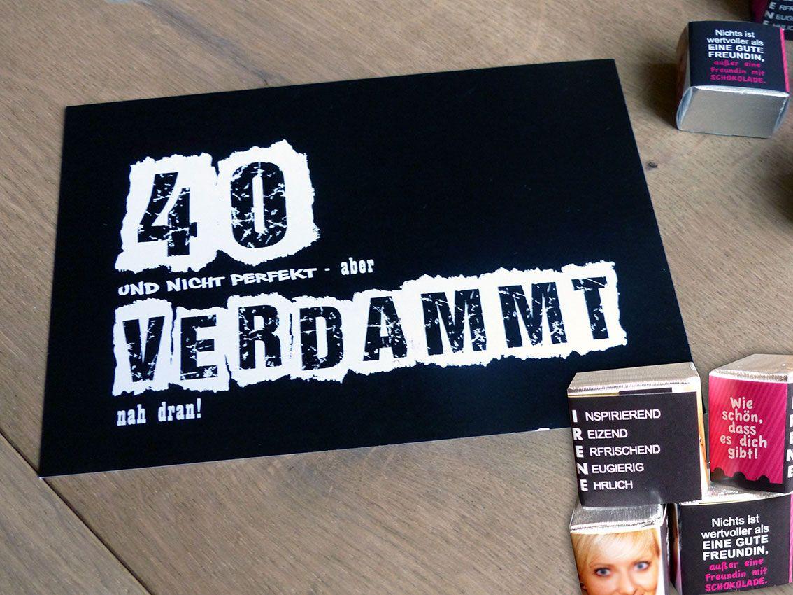 Selbstgemachte Glückwunschkarte zum 40. Geburtstag und ...