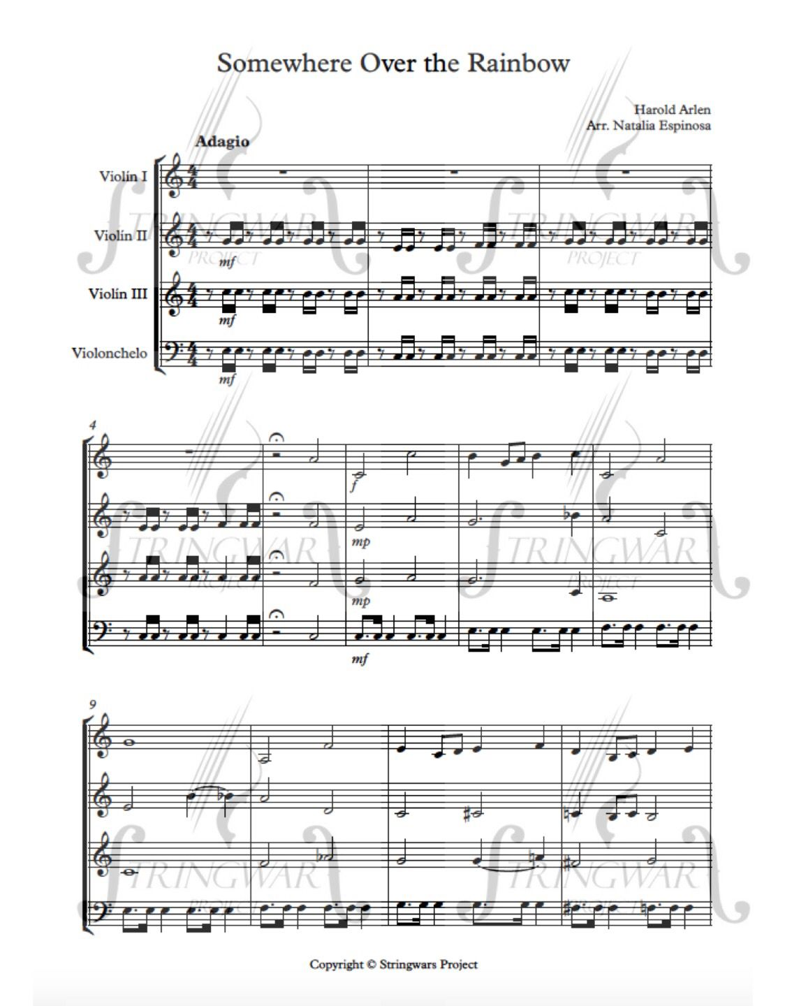 Somewhere over the rainbow for string ensamble www somewhere over the rainbow for string ensamble stringwarsproject sheetmusic hexwebz Gallery