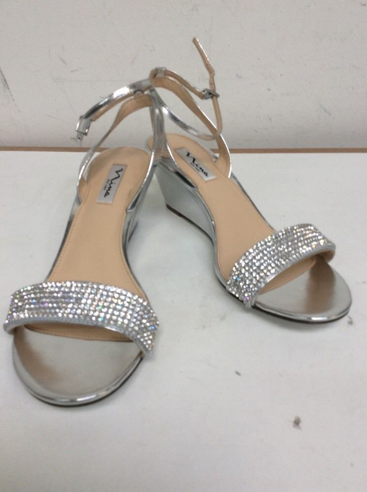 90c174e63 Nina Noely Womens Size 10m Silver Leather Wedge Sandals