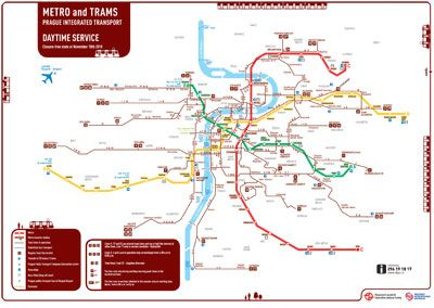 Prague Metro And Tram Map So This Shows More Than Just The
