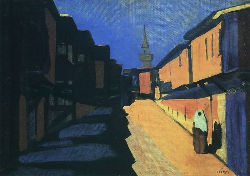 "AStreet in Evening, 1910 - Matiros Saryan. Technique ""tempera"" - WikiArt.org"