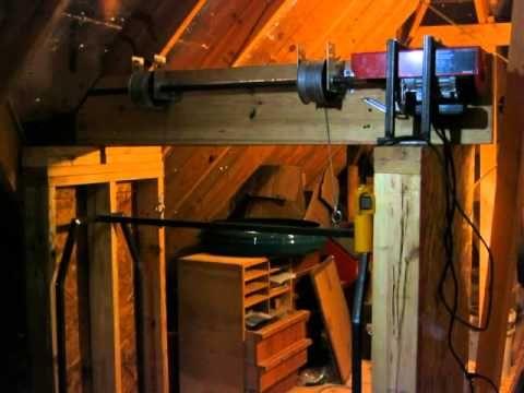 Home Made Garage Attic Lift Hoist Elevator Dumb Waiter Using Garage Door  Components