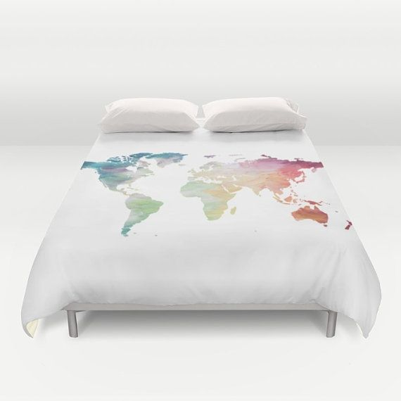 world map duvet cover full queen king duvet painted map globe bed cover