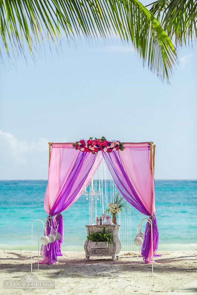 Pink And Purple Beach Elopement In Cap Cana Vals Weddings