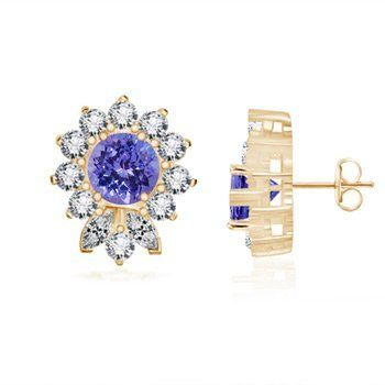 Angara Round Tanzanite Diamond Stud Earrings in 14k Yellow Gold K0rQqgRj8P