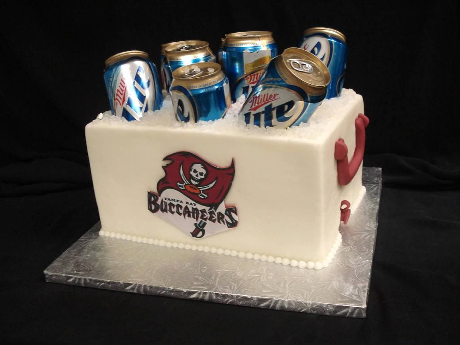 This Groom Supported His Team With This Tampa Bay Buccaneers Cooler Cake The Beers Were A Bonus Partyflavors Partyflavors Grooms Cake Custom Cakes Cake