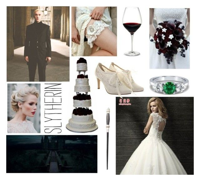 """Slytherin Wedding"" by kaffepausen ❤ liked on Polyvore featuring MSSBridal, BERRICLE, Holmegaard, Rainbow Club, harrypotter, slytherin and wedding"