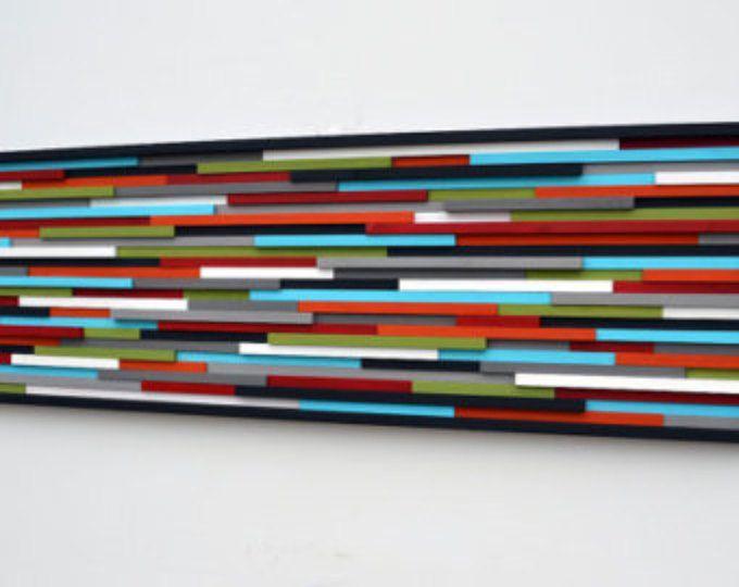 Peinture abstraite sur bois - Sculpture sur bois moderne mur Art 20 - peindre un mur en bois