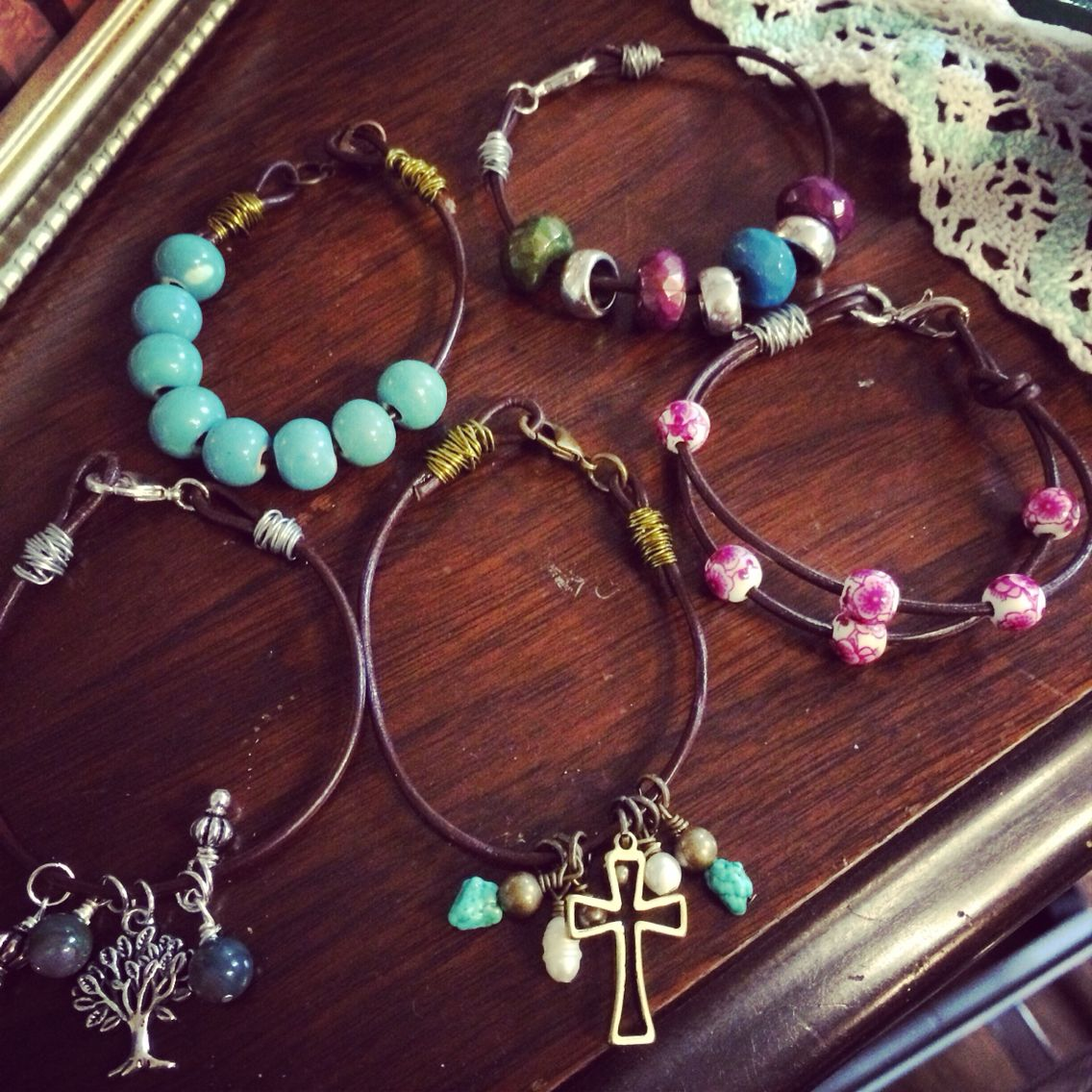 Handmade wire wrapped and leather bracelets by Blackbyrd Jewelry in Knoxville, Tn.