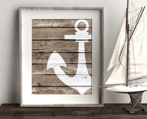 Nautical Anchor Bathroom Wall Decor, Beach Wall Art, Coastal Prints ...