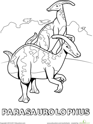 this parasaurolophus coloring page will allow your dinosaur fanatic to get acquainted with this dino wearing some seriously distinctive head gear