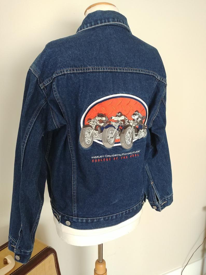 86c6f3403 Vintage Harley Davidson Looney Tunes Jean Denim Jacket, Taz, Bugs ...