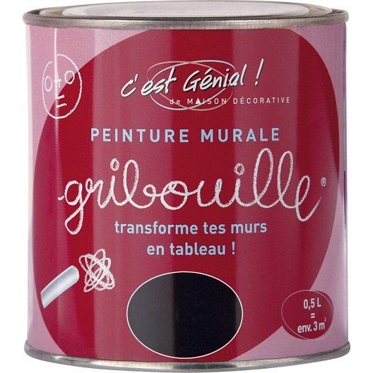 Peinture murale Gribouille MAISON DECO, noir, 05 L #peinture #mur - Peindre Un Mur Interieur