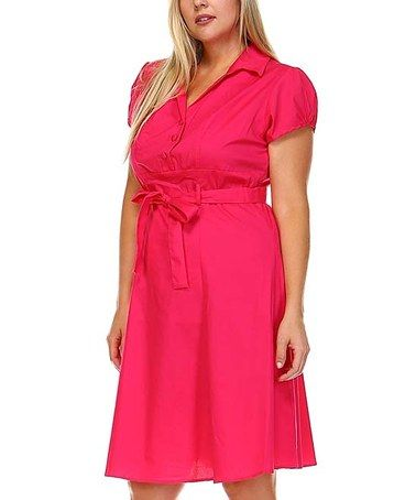 This Hot Pink Button-Front Wrap Dress - Plus is perfect! #zulilyfinds
