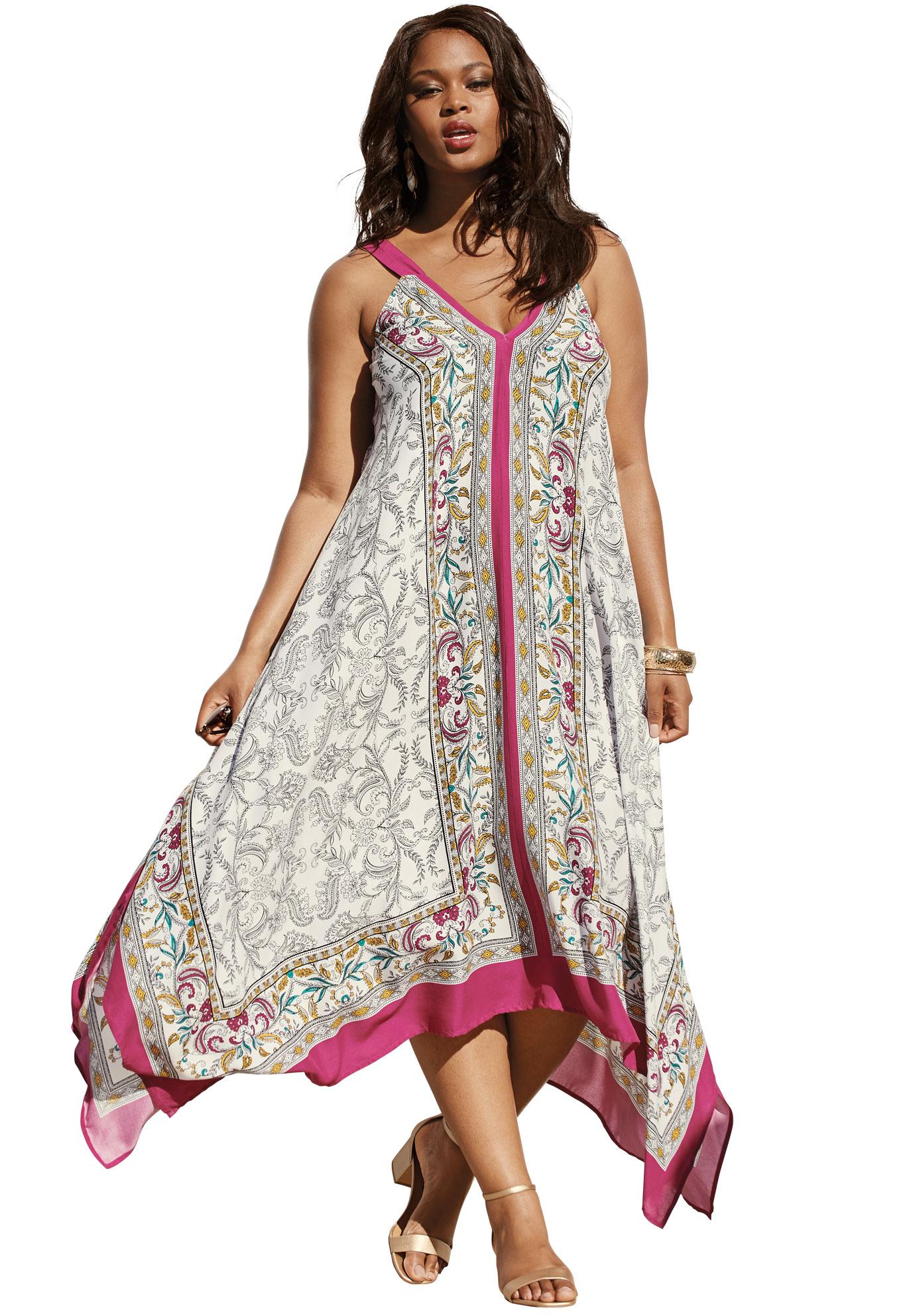 Roaman S Roaman S Plus Size Scarf Print Maxi Dress With Handkerchief Hem Walmart Com Plus Size Summer Dresses Plus Size Maxi Dresses Printed Maxi Dress [ 1986 x 1380 Pixel ]